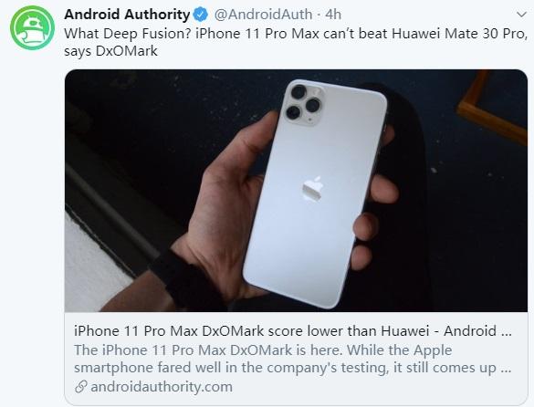 """苹果iPhone 11 Pro Max DxO得分再输华为Mate 30 Pro,外媒:""""What Deep Fusion?"""