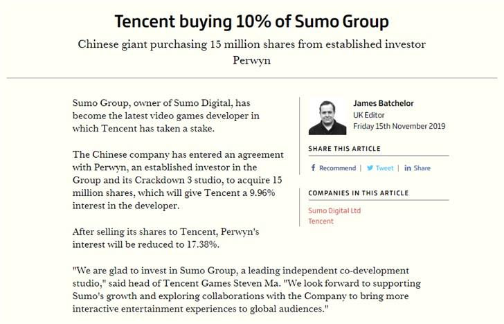 腾讯入股《团队索尼克赛车》开发商,持股占比约10%