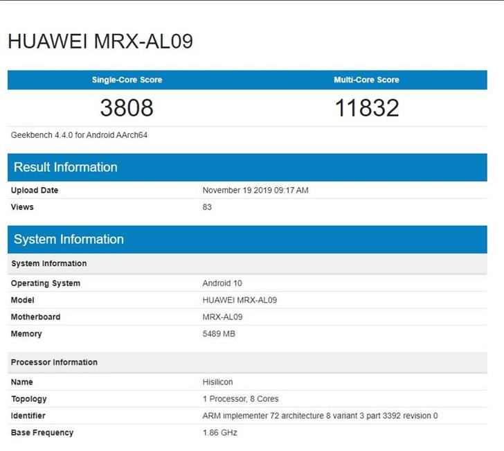 华为MatePad现身GB跑分网站:6GB内存+麒麟990