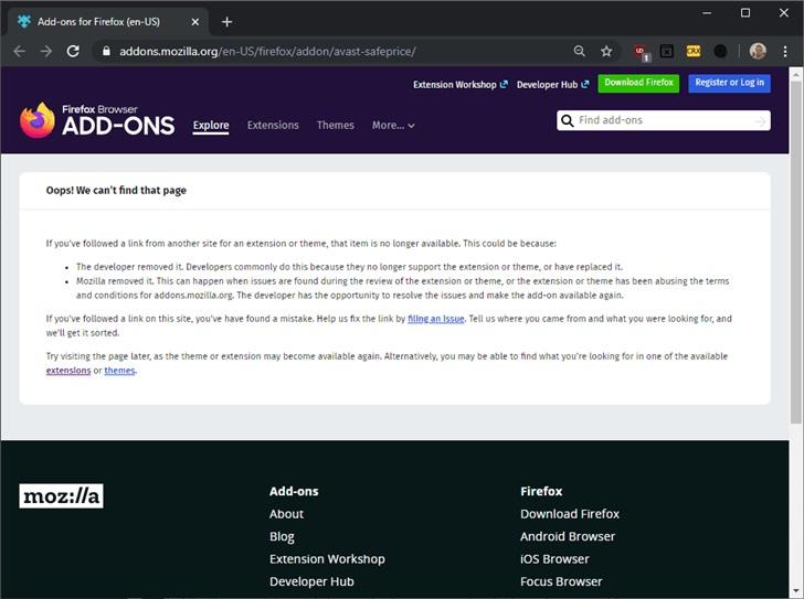 Mozilla 删除了所有 Avast Firefox 扩展