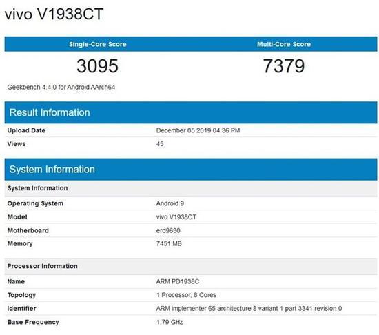 vivo X30 5G版现身跑分站 搭载Exynos 980