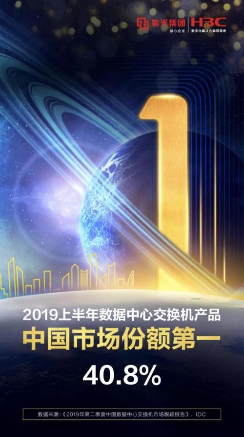 新华三赢得2019H1数据中心交换机中国市场份额第一,以智能联接引领网络全域创新