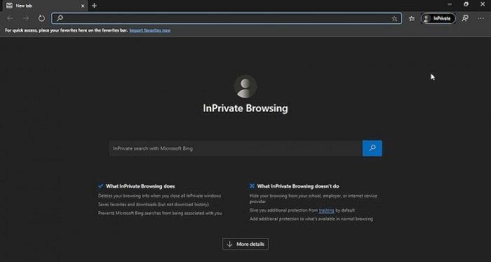 微软Bing搜索的InPrivate Search现整合到Edge的隐私窗口模式中