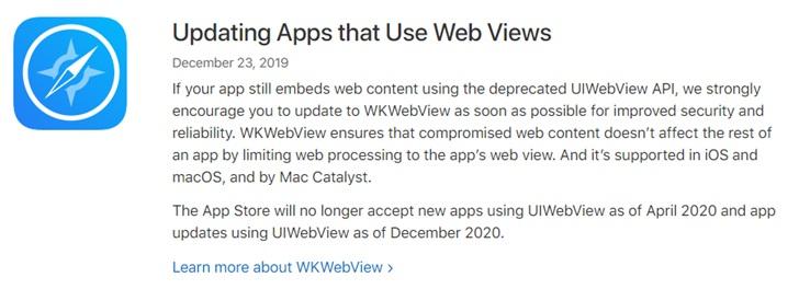 苹果警告:4月起App Store不再接受使用UIWebView的新App