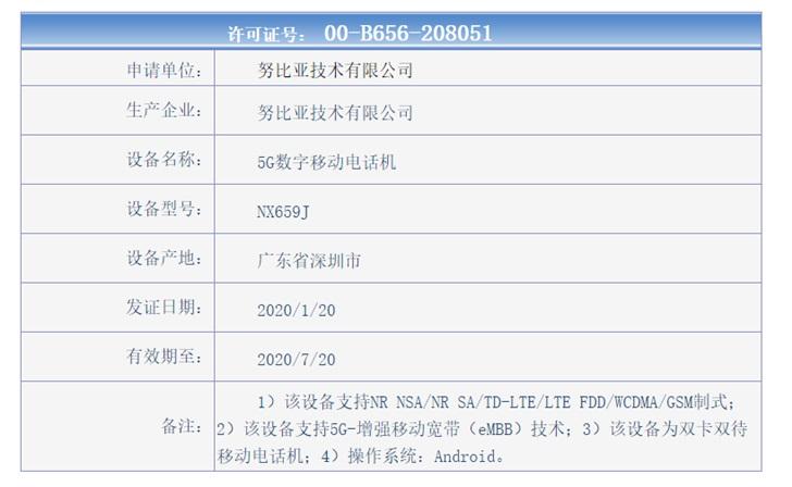 努比亚红魔5G游戏手机获入网许可证:骁龙865+144Hz屏幕