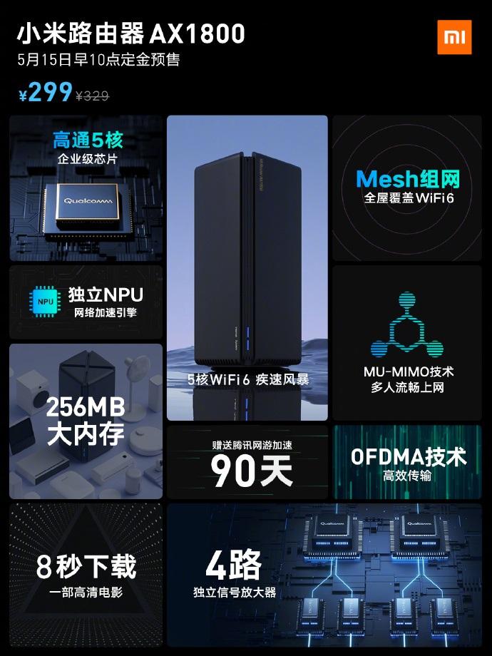 小米 Wi-Fi 6 路由器 AX1800 发布