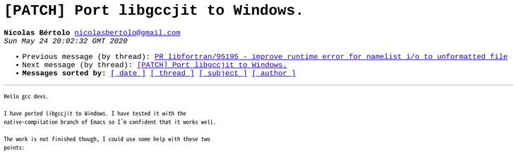 开发者将 GCC 的 JIT 库移植到微软 Windows