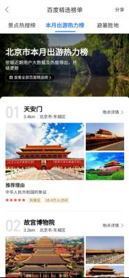"""百度地图推出""""本月出游热力榜"""",天安门成北京市九月出游热力榜TOP1"""