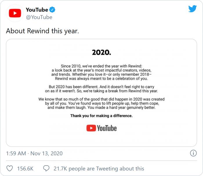 YouTube宣布今年取消年度盘点Rewind庆祝活动