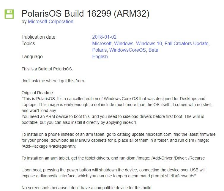 微软 Win10 Core OS Polaris 早期版本泄露:兼容 ARM32 架构,已被 Windows 10X 取代