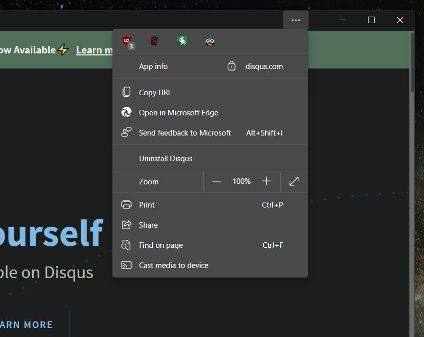 微软重新设计了 Edge 浏览器 PWA 应用菜单