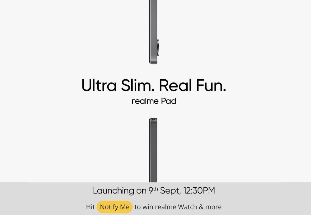 realme Pad 海外版将于 9 月 9 日发布:主打轻薄,厚度 6.9 毫米